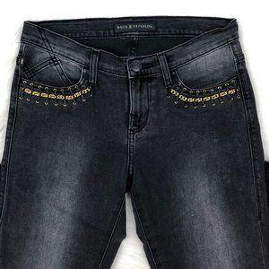 Skinny Fit Berlin Gold Chain Black Denim Jeans 4